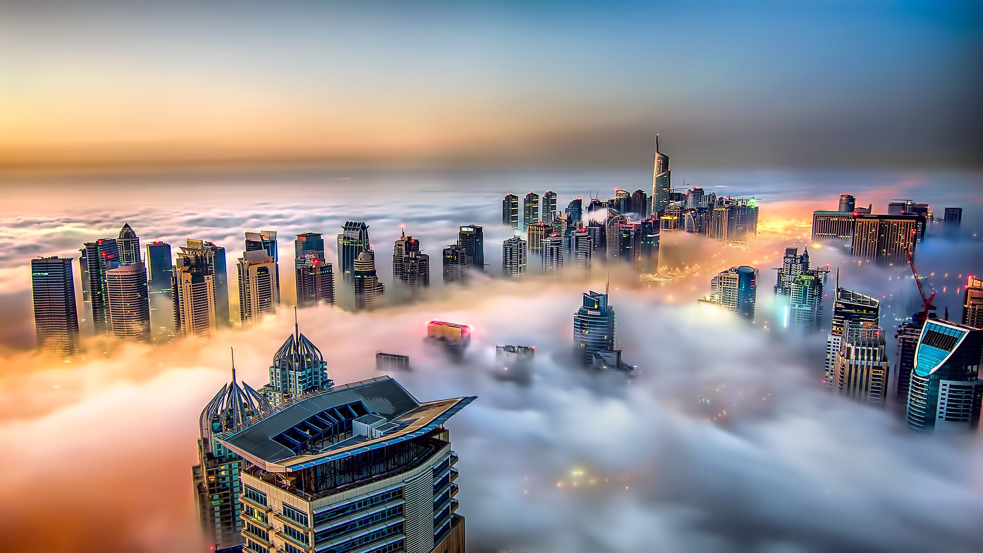Foggy Dubai Marina