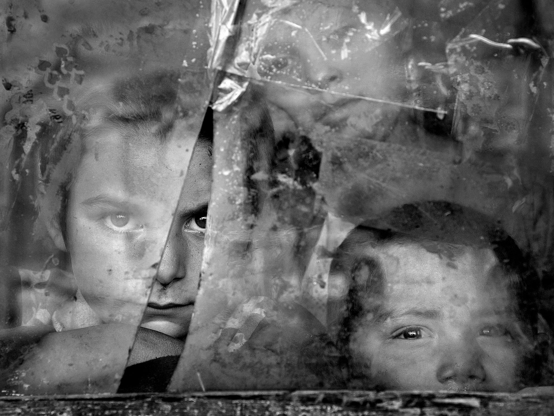 Faces in window