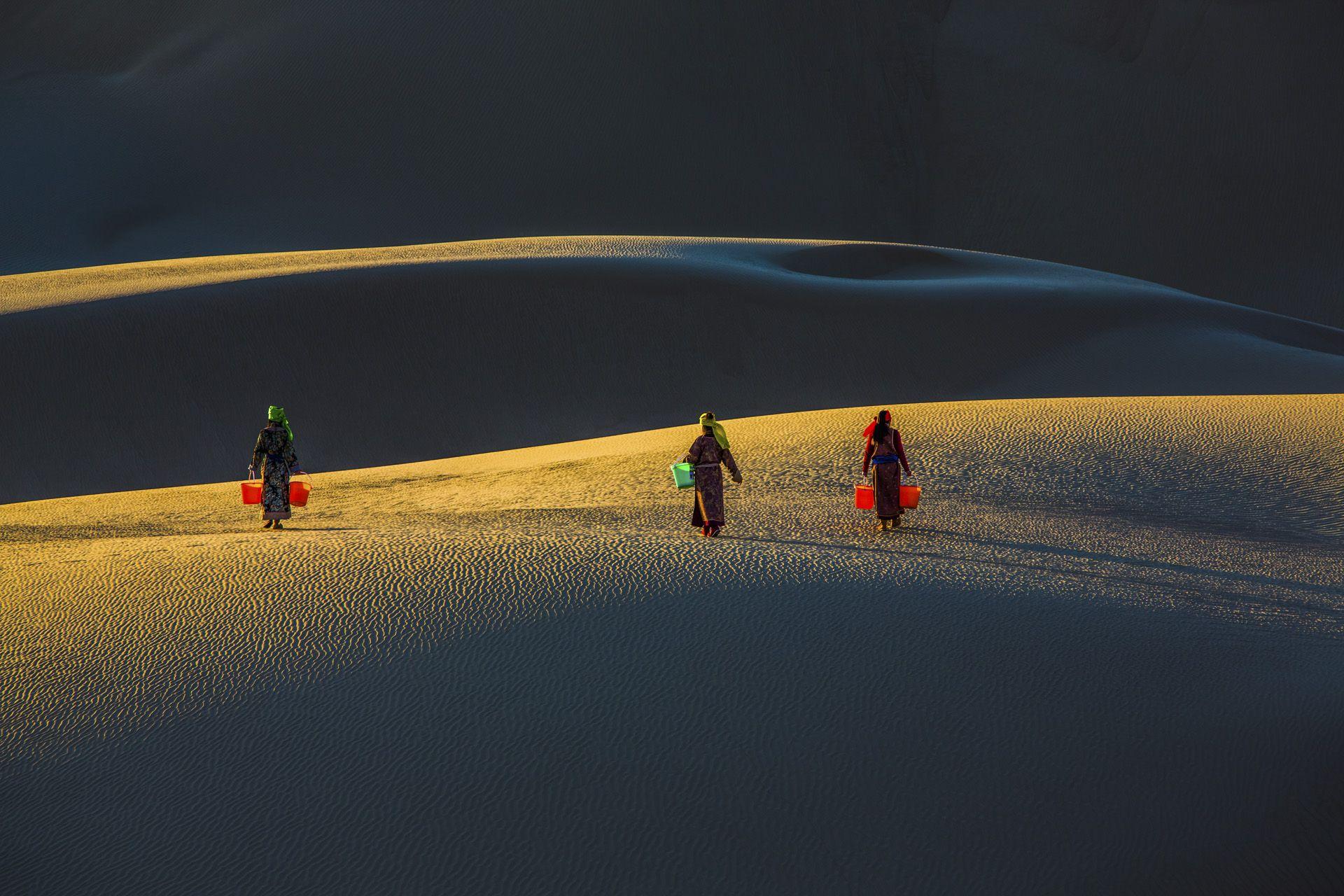 Sisters in desert