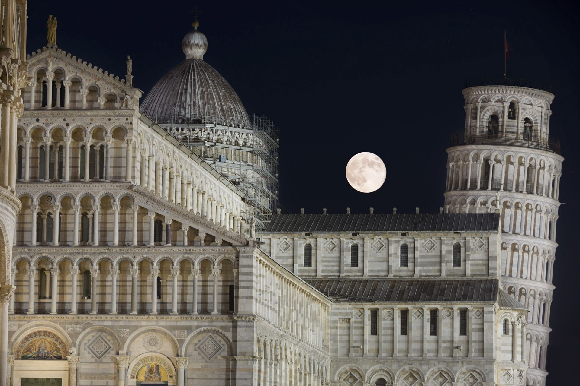 Moon and Leaning Tower
