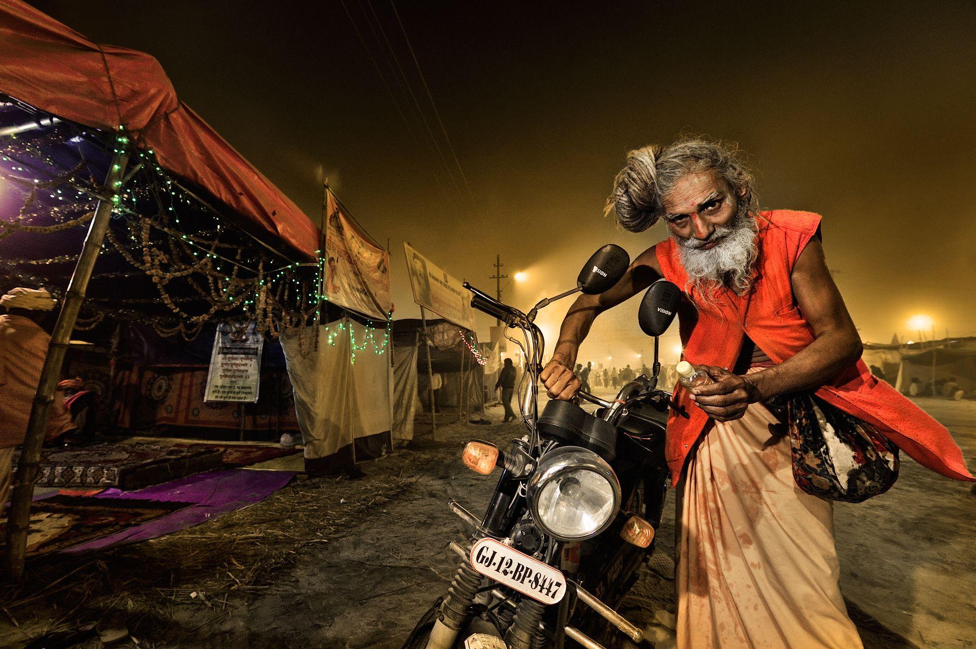 Sadhu and his motorbike